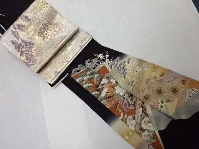 屋敷に牡丹・鴛鴦・花模様留袖(比翼付き) 袋帯セット【リサイクル】【中古】