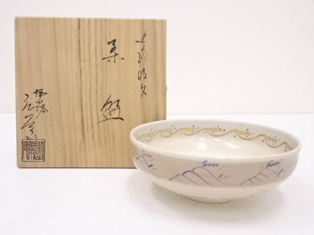 京焼 押小路窯 庄左衛門造 色絵波文茶碗