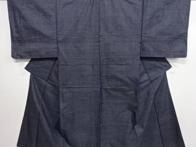幾何学模様織り出し手織り紬男物着物アンサンブル【リサイクル】【中古】