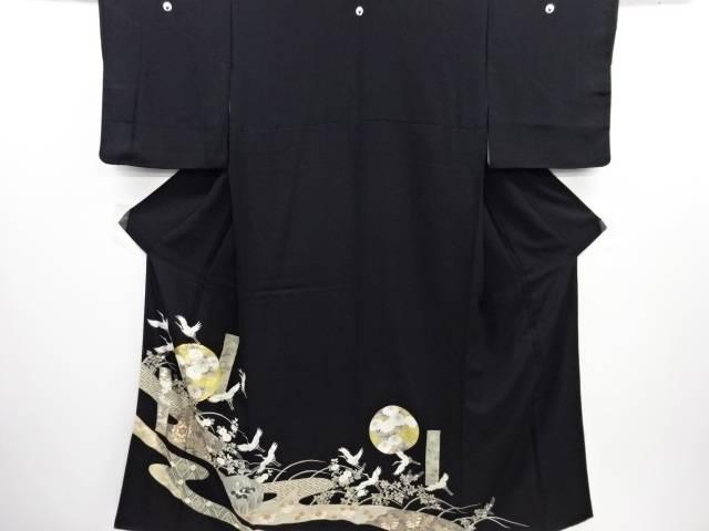 金彩流水に菊菖蒲群鶴模様刺繍留袖(比翼付き)【リサイクル】【中古】≪06OFF≫