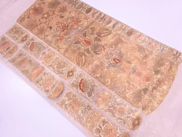超安い 合計3980円以上の購入で送料無料 金彩草花模様刺繍袋帯 リサイクル 中古 優先配送
