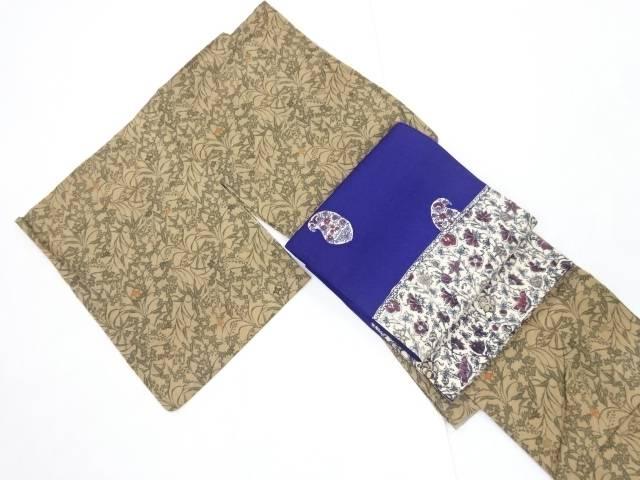 草花模様手織り真綿紬着物 洒落袋帯セット【リサイクル】【中古】