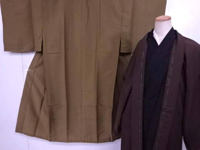 洗える男物着物フルセット 無地 着物 帯付き 未使用品【リサイクル】【中古】