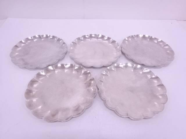 大壷棲造 純銀菊形銘々皿5枚セット(1276グラム)