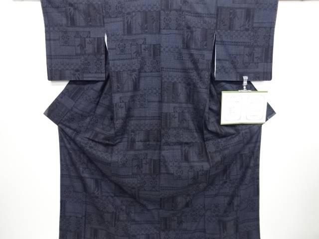 未使用品 仕立て上がり 重要無形文化財本場結城紬100亀甲麻の葉に竹笹模様織り出し着物