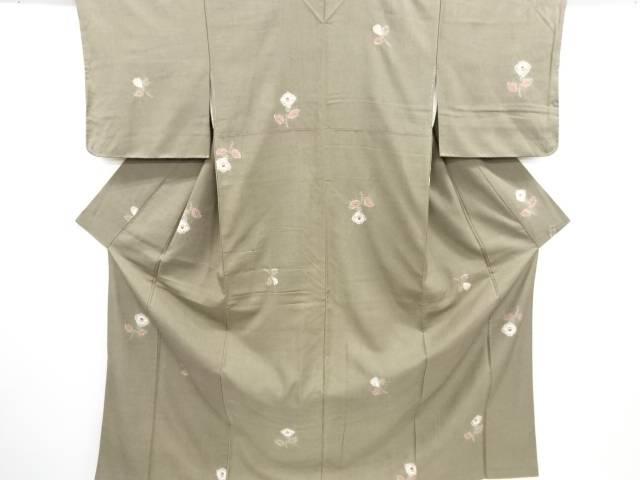 絞り花模様手織り節紬着物【リサイクル】【中古】