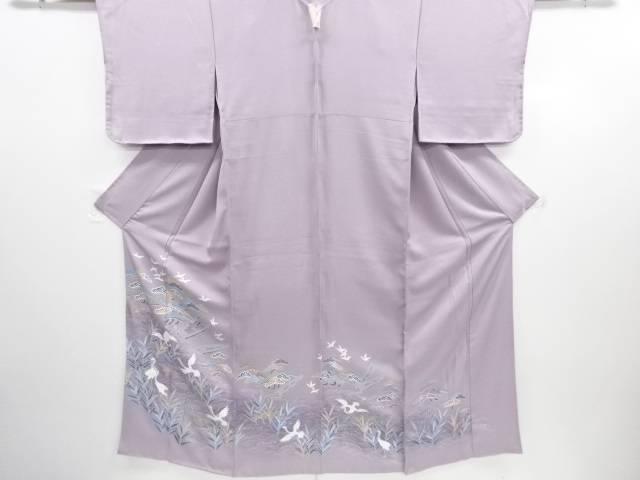 手描き友禅小舟に松群鶴模様一つ紋色留袖【リサイクル】【中古】