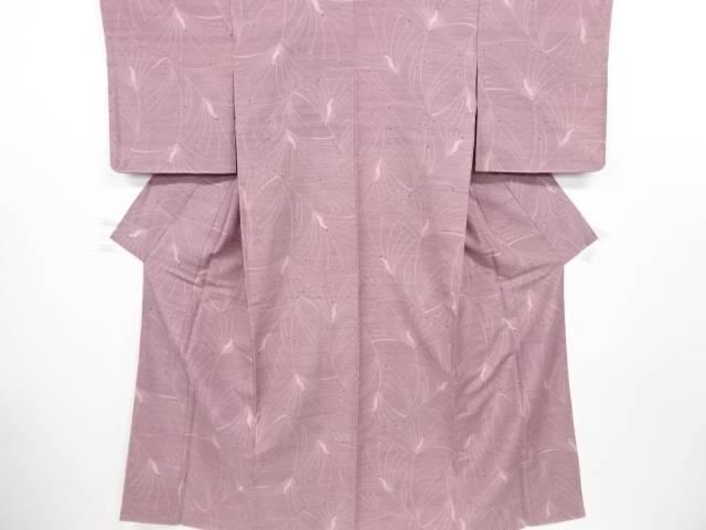 未使用品 抽象孔雀模様織り出し手織り真綿紬着物【リサイクル】【中古】