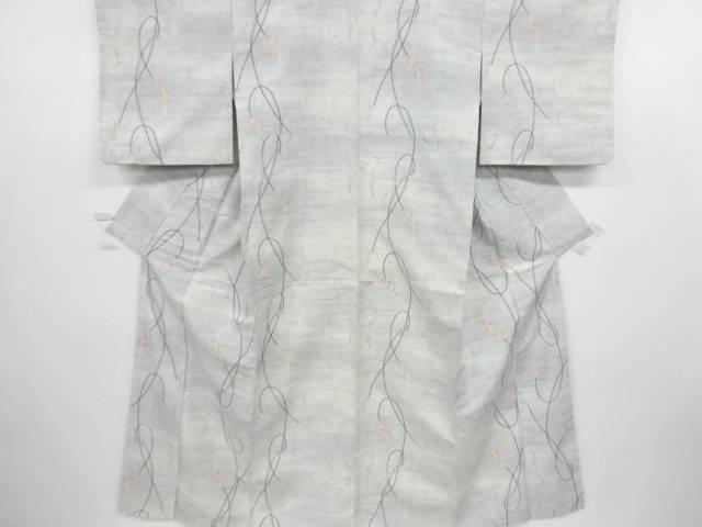 線描きに水玉・花尽くし模様織り出し手織り真綿紬着物【リサイクル】【中古】