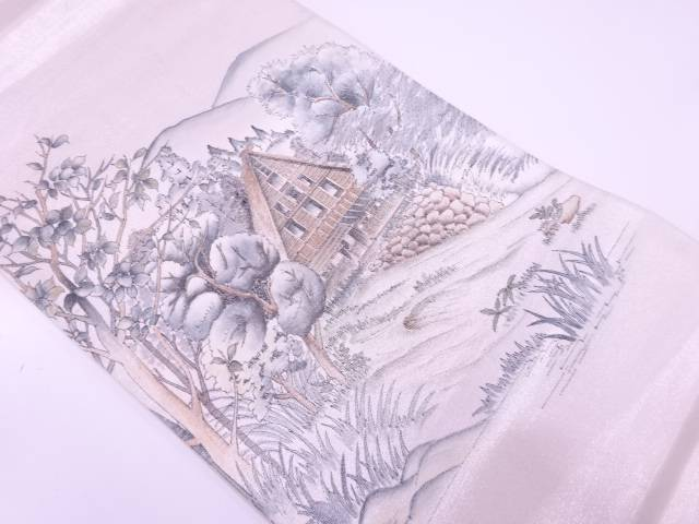 作家物 手描き家屋風景模様袋帯【リサイクル】【中古】