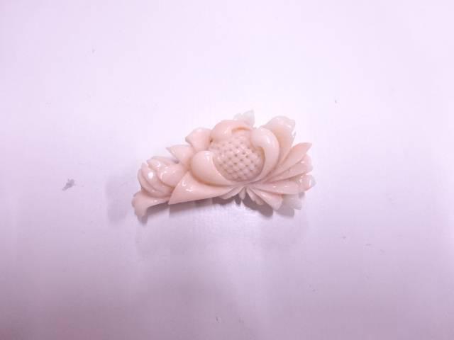 本珊瑚花帯留め(11.95グラム)【アンティーク】【中古】
