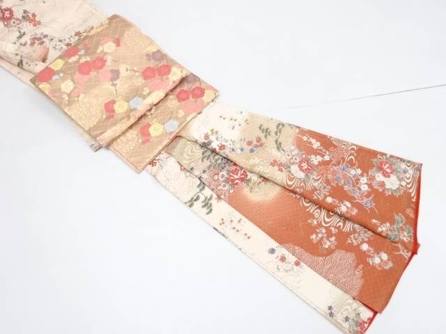 変わり織流水に牡丹梅花扇模様訪問着・唐織袋帯セット【リサイクル】【中古】