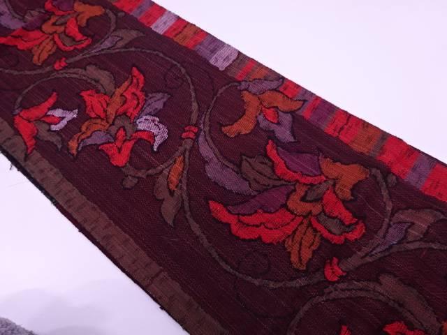 手織り真綿紬花唐草模様織出し名古屋帯【リサイクル】【中古】