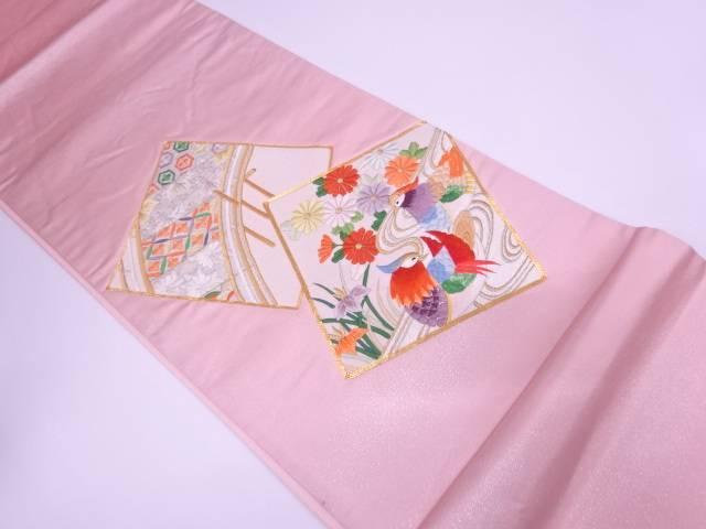 色紙に花鳥・橋模様刺繍袋帯【リサイクル】【中古】