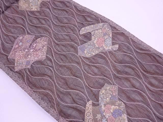 未使用品 紗 すくい織読本に花鳥模様織出し袋帯【リサイクル】【中古】≪06OFF≫(natsuk)