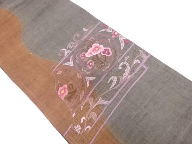 手織り紬相良刺繍草花模様袋帯【リサイクル】【中古】≪06OFF≫