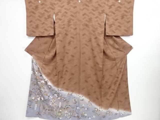 花鳥模様五つ紋色留袖【リサイクル】【中古】