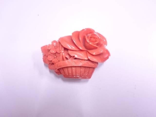 本珊瑚花かご帯留め(21グラム)【アンティーク】【中古】