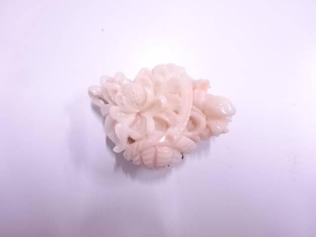 本珊瑚花かご帯留め【アンティーク】【中古】