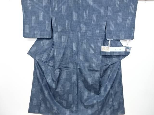 未使用品 三代目市三郎 乱格子織り出し手織紬着物【リサイクル】【中古】