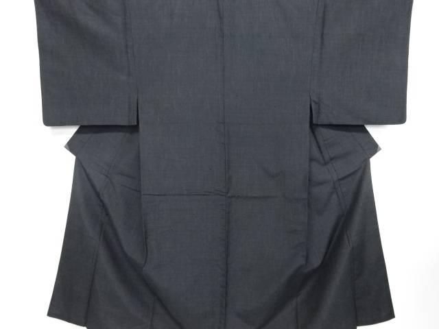 雨縞模様織出手織り紬男物着物アンサンブル長襦袢セット【リサイクル】【中古】