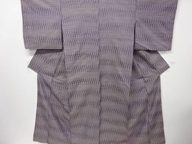 変わり横段模様織出し手織真綿紬着物【リサイクル】【中古】