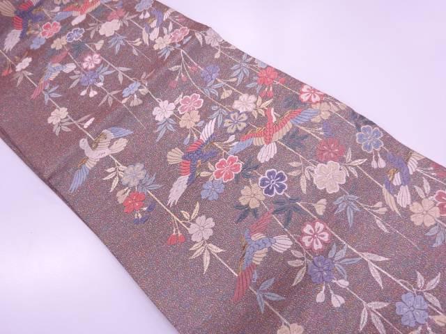 唐織枝垂れ桜に鳥模様織出し袋帯【リサイクル】【中古】≪06OFF≫