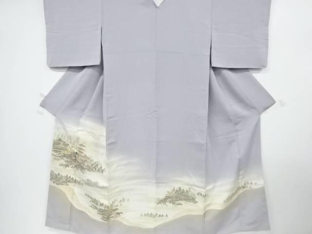寿光織寺院風景模様織り出し一つ紋色留袖【リサイクル】【中古】