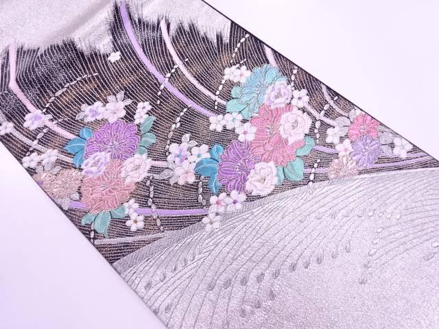 草花模様織出し振袖用袋帯【リサイクル】【中古】