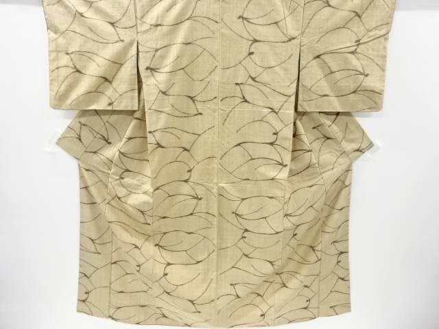 抽象鹿模様織り出し手織り真綿紬着物【リサイクル】【中古】