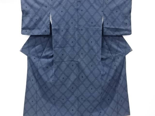 斜め格子模様織り出し本塩沢100亀甲着物【リサイクル】【中古】