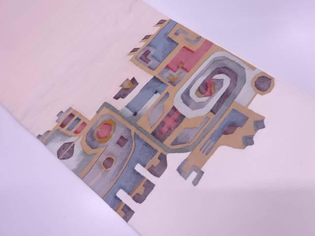 すくい織抽象模様織出し袋帯【リサイクル】【中古】≪06OFF≫