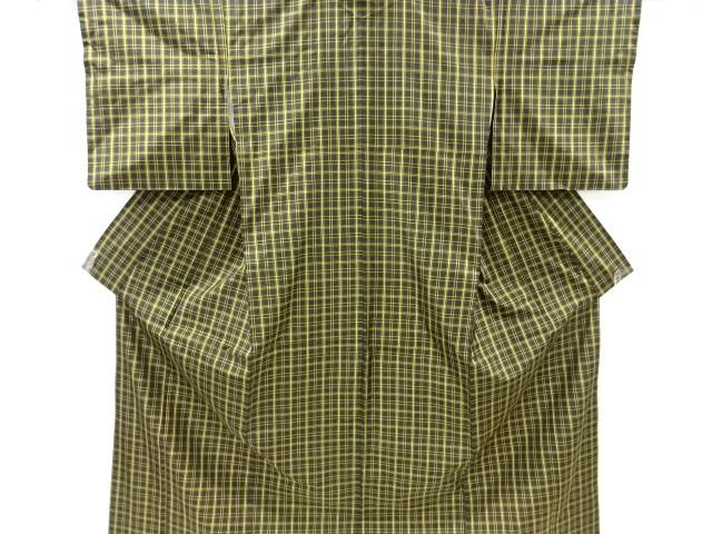 格子織り出し米沢紬着物【リサイクル】【中古】