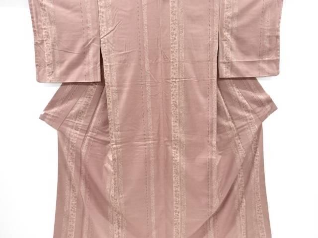 縞に花更紗模様手織り真綿紬着物【リサイクル】【中古】