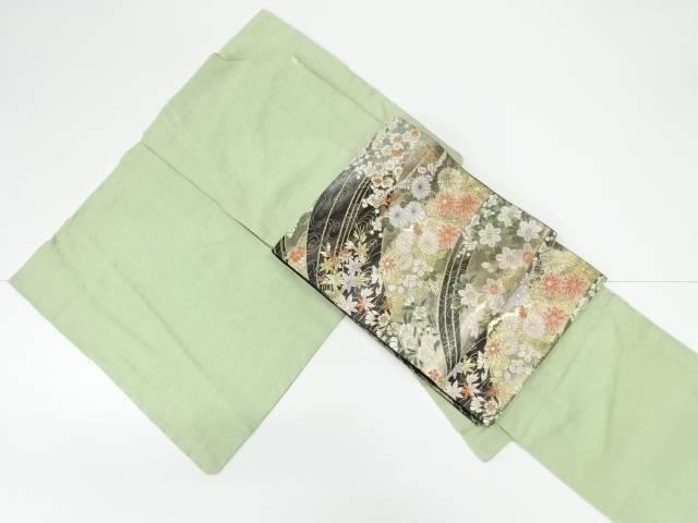 梶山伸 本加賀松竹梅に茶屋辻模様織り出し一つ紋色無地着物 袋帯セット【リサイクル】【中古】