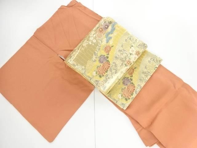 合計3980円以上の購入で送料無料 菊模様織出一つ紋色無地着物 袋帯セット セール特別価格 割引も実施中 リサイクル 中古