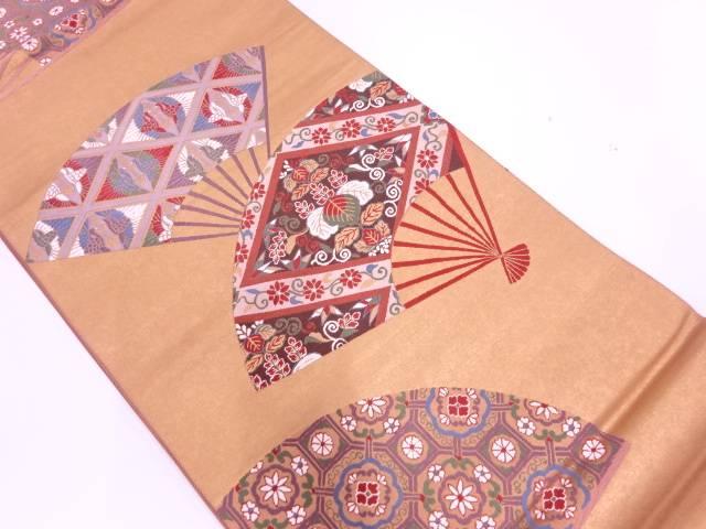引箔扇に桐・向かい鶴模様織出し袋帯【リサイクル】【中古】