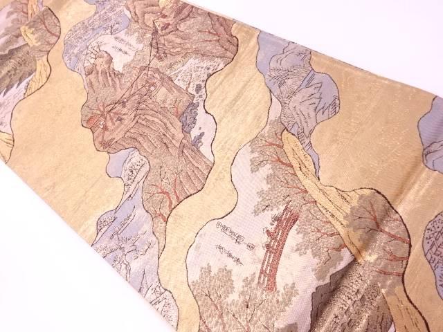 ヱ霞に時代風景模様織出し袋帯【リサイクル】【中古】
