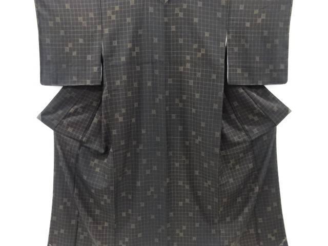 未使用品 仕立て上がり 格子模様小紋着物