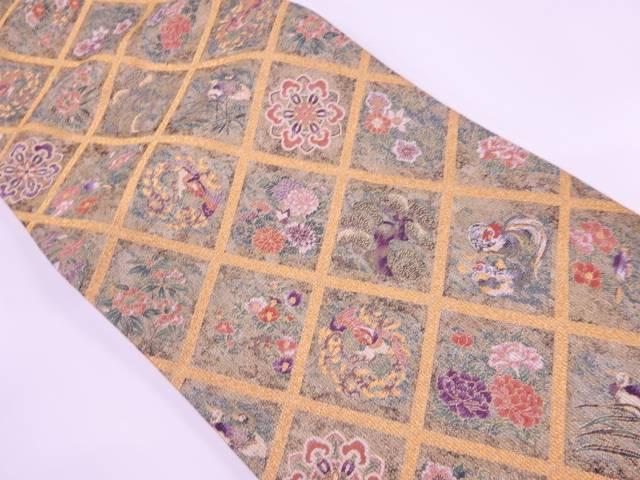 襷に花鳥模様織出し袋帯【リサイクル】【中古】