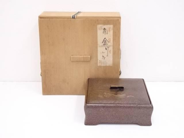古物 漆塗竹に雀蒔絵蓋物
