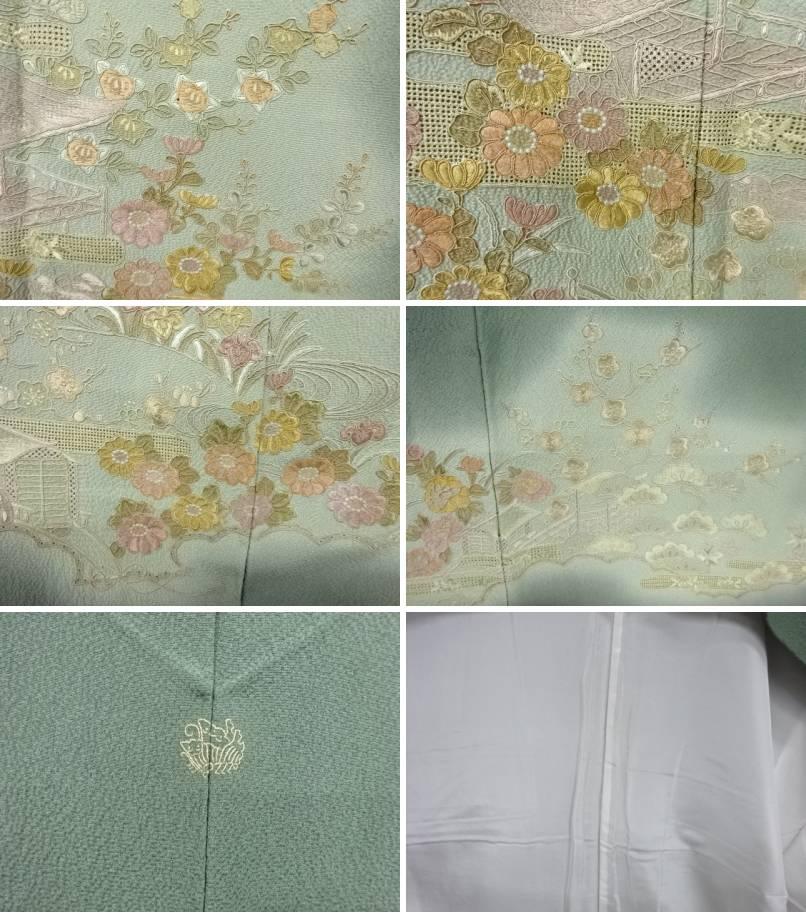 汕頭蘇州刺繍屋敷風景模様一つ紋訪問着 リサイクルOXZTPuki