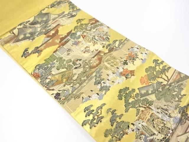 本金箔時代人物風景模様織り出し袋帯【リサイクル】【中古】