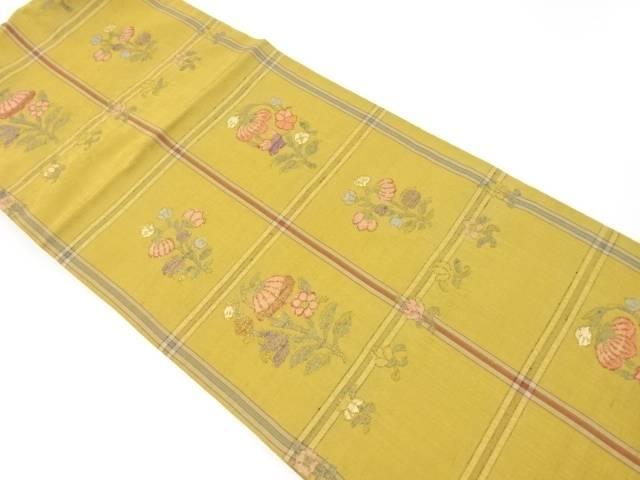 洛風林謹製 手織り紬格子に花模様織り出し洒落袋帯【リサイクル】【中古】