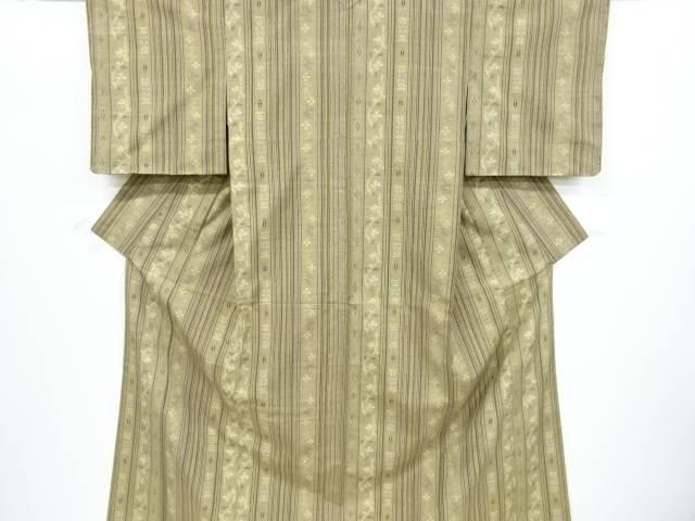 未使用品 縞に花更紗模様織出手織り真綿紬着物【リサイクル】【中古】
