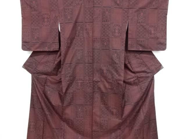 格子に更紗模様織り出し本場泥大島紬着物(5マルキ)【リサイクル】【中古】