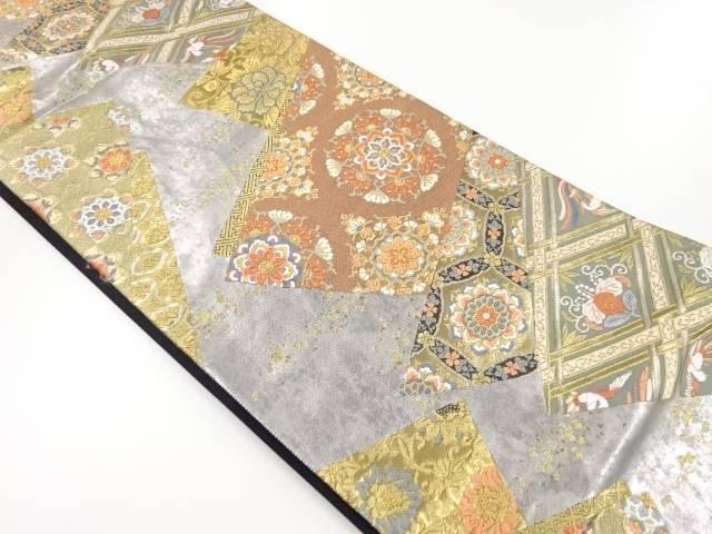 本漆箔華紋・花鳥模様織り出し袋帯【リサイクル】【中古】