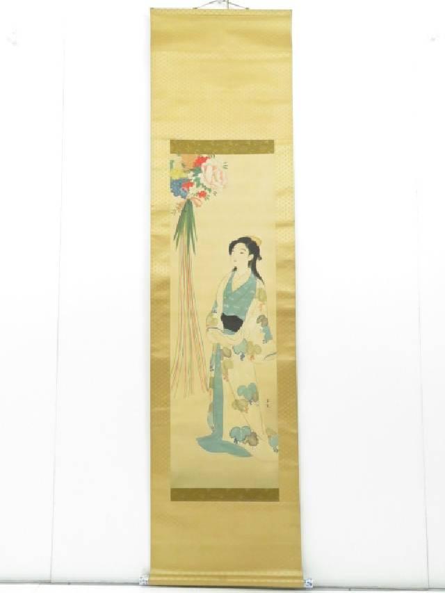 中国画 玉光筆 美人画図 書 肉筆絹本掛軸