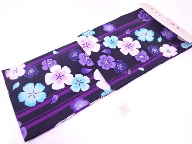 【合計1万円以上の購入で送料無料】  浴衣 女性 変わり織 縞に撫子模様浴衣(フリーサイズ)(黒)【新品】