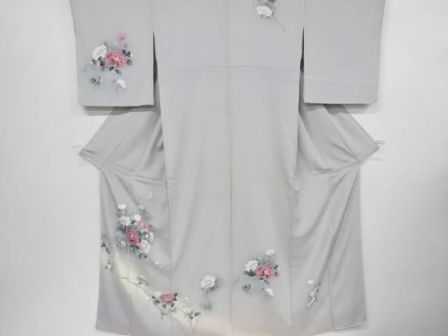 【合計1万円以上の購入で送料無料】  手描き友禅椿模様刺繍着物【アンティーク】【中古】